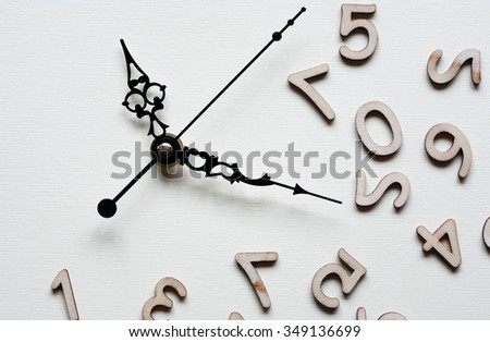 Time concept. Minute and second hands near set of wooden digits - stock photo