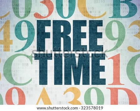 Time concept: Painted blue text Free Time on Digital Paper background with Hexadecimal Code - stock photo
