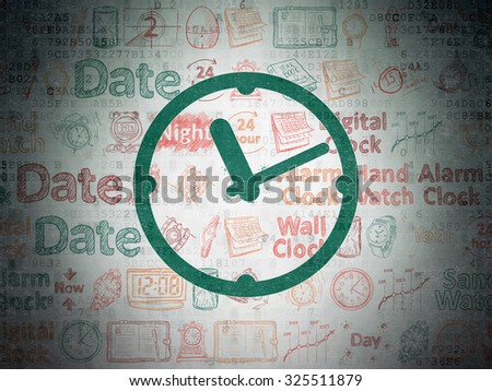 Time concept: Painted green Clock icon on Digital Paper background with  Hand Drawing Time Icons - stock photo