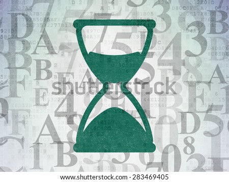 Time concept: Painted green Hourglass icon on Digital Paper background with  Hexadecimal Code, 3d render - stock photo