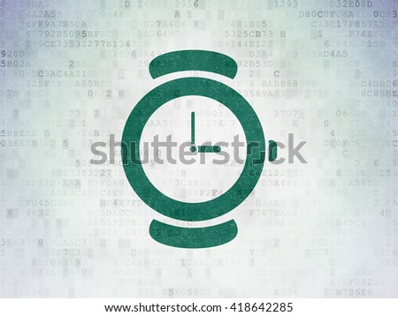 Time concept: Painted green Watch icon on Digital Data Paper background - stock photo
