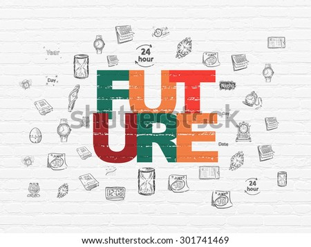 Time concept: Painted multicolor text Future on White Brick wall background with  Hand Drawing Time Icons, 3d render - stock photo