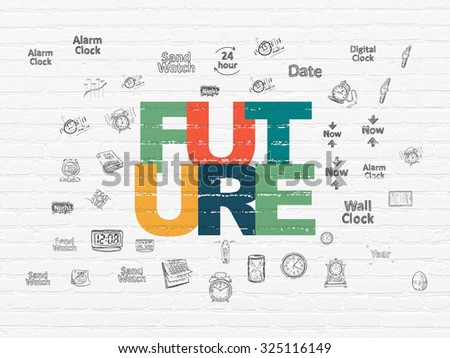 Time concept: Painted multicolor text Future on White Brick wall background with  Hand Drawing Time Icons - stock photo