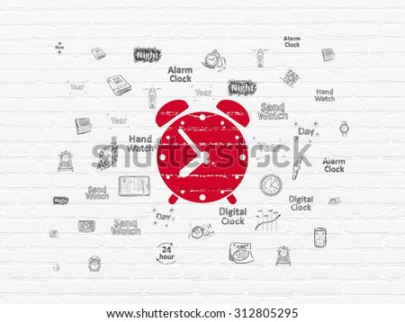 Time concept: Painted red Alarm Clock icon on White Brick wall background with  Hand Drawing Time Icons - stock photo