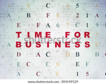 Time concept: Painted red text Time for Business on Digital Paper background with Hexadecimal Code, 3d render - stock photo