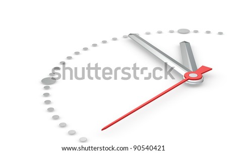 Time Concept. Perspective view of a clock with hands pointing at five to twelve. Steel