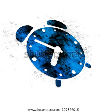 Time concept: Pixelated blue Alarm Clock icon on Digital background
