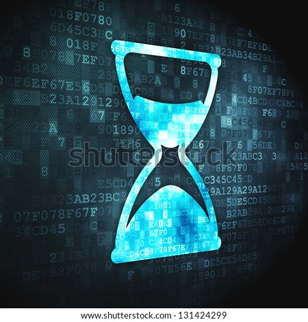 Time concept: pixelated Hourglass icon on digital background, 3d render - stock photo