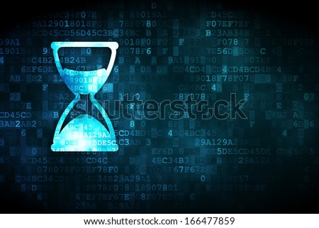 Time concept: pixelated Hourglass icon on digital background, empty copyspace for card, text, advertising, 3d render - stock photo