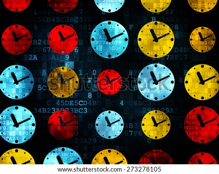 Time concept: Pixelated multicolor Clock icons on Digital background, 3d render - stock photo