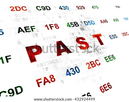 Time concept: Pixelated red text Past on Digital wall background with Hexadecimal Code - stock photo