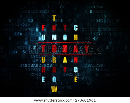 Time concept: Pixelated red word Today in solving Crossword Puzzle on Digital background, 3d render - stock photo
