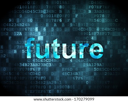 Time concept: pixelated words Future on digital background, 3d render - stock photo