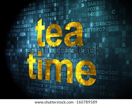 Time concept: pixelated words Tea Time on digital background, 3d render