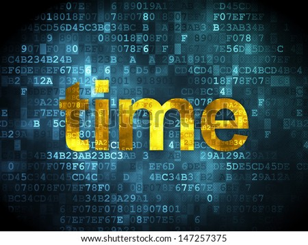 Time concept: pixelated words Time on digital background, 3d render