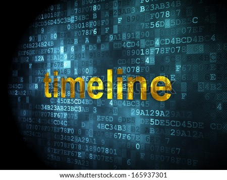 Time concept: pixelated words Timeline on digital background, 3d render