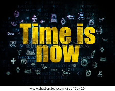 Time concept: Pixelated yellow text Time is Now on Digital background with  Hand Drawing Time Icons, 3d render - stock photo