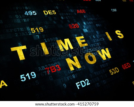 Time concept: Pixelated yellow text Time is Now on Digital wall background with Hexadecimal Code - stock photo