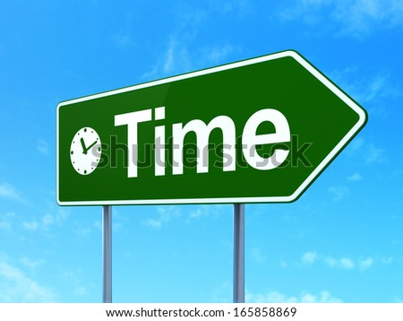 Time concept: Time and Clock icon on green road (highway) sign, clear blue sky background, 3d render - stock photo