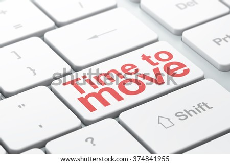 Time concept: Time to Move on computer keyboard background - stock photo