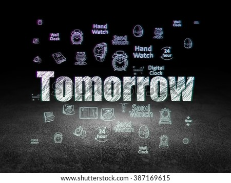 Time concept: Tomorrow in grunge dark room - stock photo