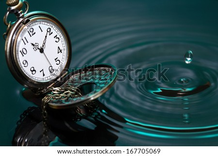 Time concept. Vintage pocket watch on water with falling drop - stock photo