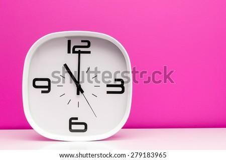 TIme concept white clock - stock photo