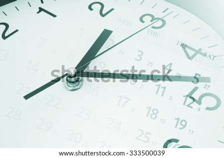 Time concept with clock and calendar - stock photo