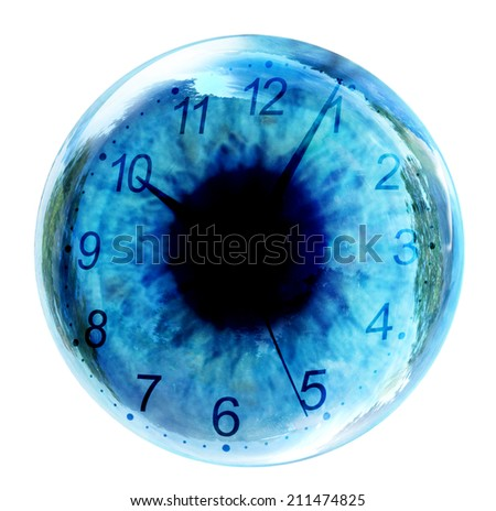 time concept with clock in eye - stock photo