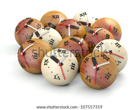 Time concept. Wooden sphere clocks - stock photo