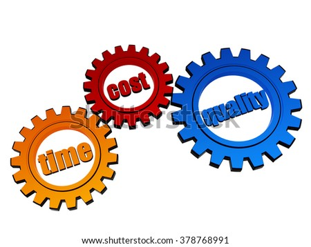time, cost, quality - text in 3d orange, red, blue gear wheels, business successful concept words - stock photo