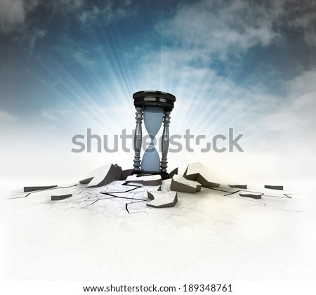 time countdown stuck into ground with flare and sky illustration - stock photo