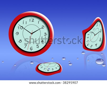 Time curvature on a blue background with water drops - stock photo