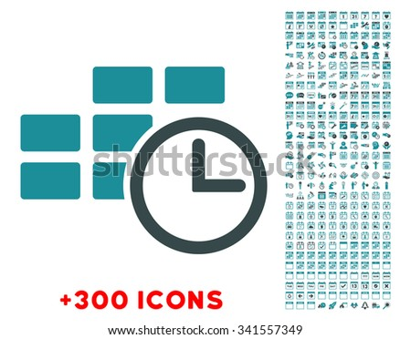 Time Dataset glyph icon with additional 300 date and time management pictograms. Style is bicolor flat symbols, soft blue colors, rounded angles, white background. - stock photo