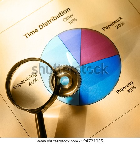 Time distribution diagram with mechanical wrench and magnifying glass - stock photo
