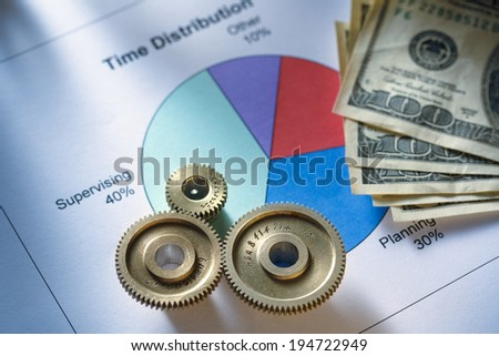 Time distribution diagram with mechanical wrench and money - stock photo
