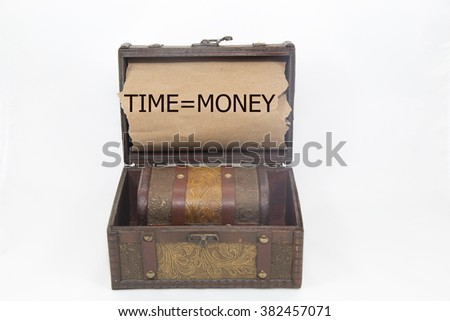 time equal Money is written on the Brown torn paper in the treasure box. isolated on white background