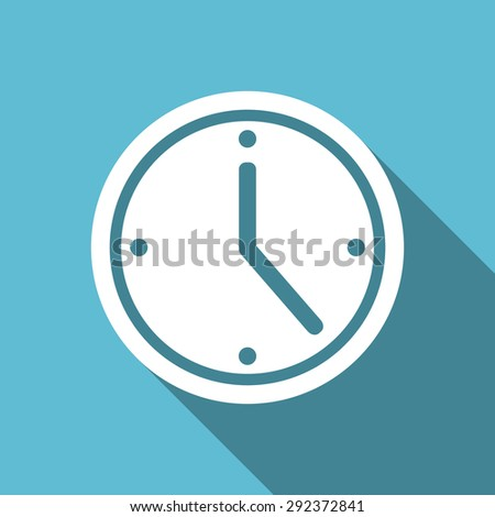 time flat icon watch sign original modern design flat icon for web and mobile app with long shadow  - stock photo