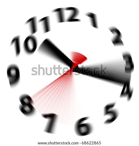 Time flies by fast as hands blur spinning around a white clock face - stock photo