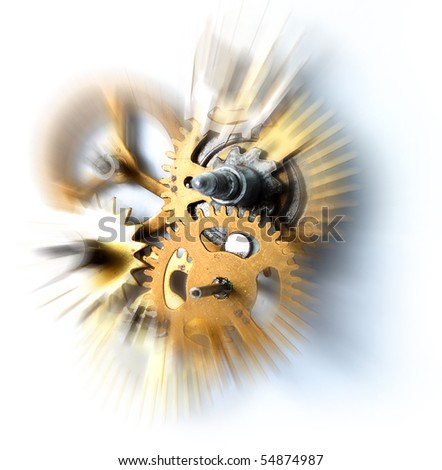 Time flies concept old clock mechanism - stock photo