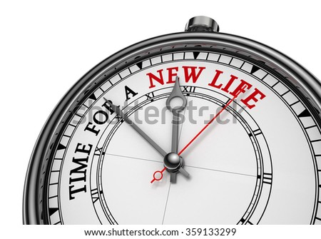Time for a new life concept clock, isolated on white background