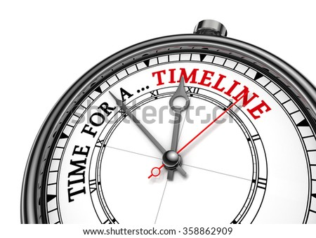 Time for a timeline conceptual message on clock, isolated on white background - stock photo