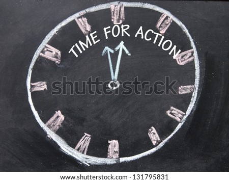 time for action clock sign - stock photo