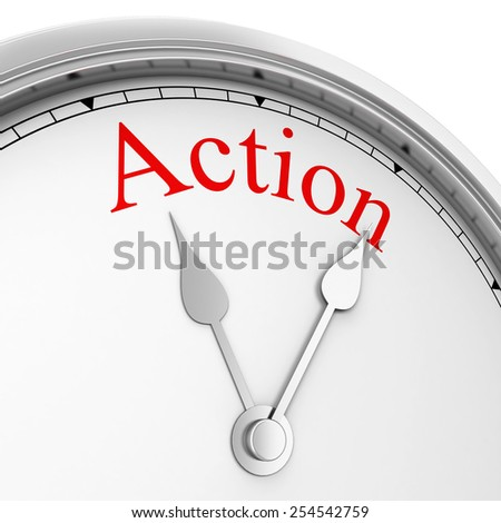 Time for action. 3d illustration isolated on white background  - stock photo