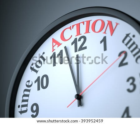 Time for Action , 3d render - stock photo