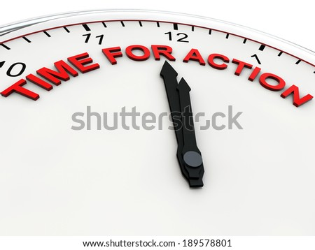 Time for Action on a alarm clock its 1 minute to twelve - stock photo