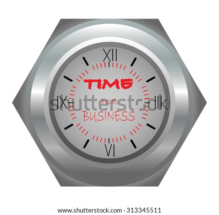 Time for business. Silver clock illustration