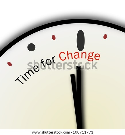 Time for Change Clock Inspirational or Motivational POV - stock photo