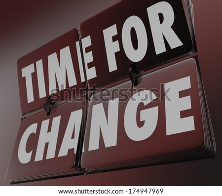 Time for Change Clock Retro Flipping Tiles Adapt Innovate - stock photo