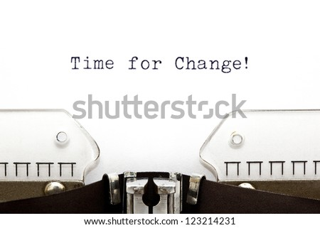 Time for Change printed on an old typewriter - stock photo